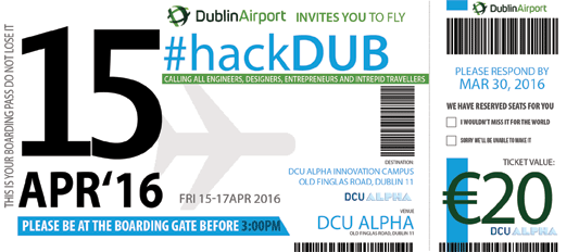 Promo boarding pass image - Dublin Airport Hackathon